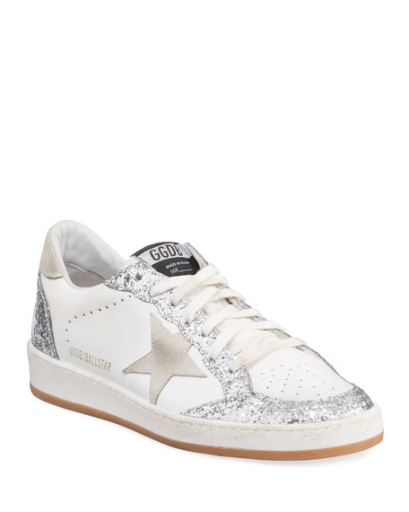 Golden Goose Ball Star Glittered Lace-Up Leather Sneakers