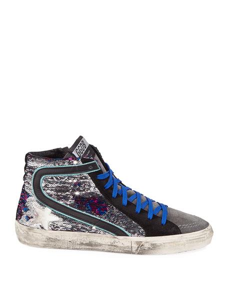Golden Goose Slide Sequined Leopard High-Top Sneakers