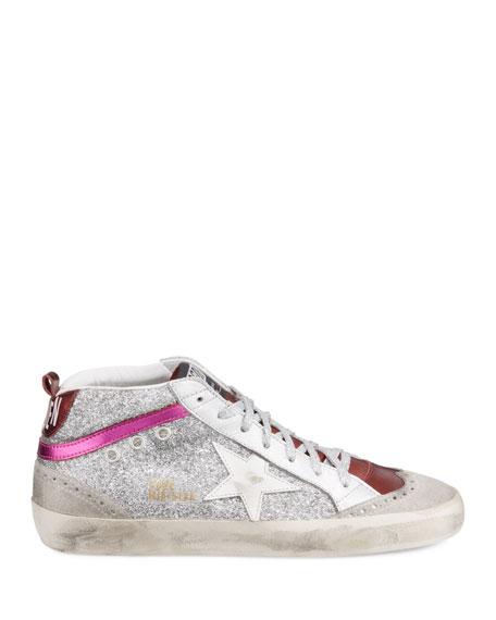 Golden Goose Mid Star Glittered Metallic Leather Sneakers