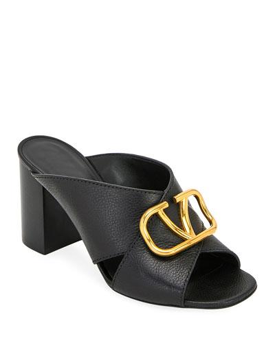 VLOGO Leather Mule Sandals