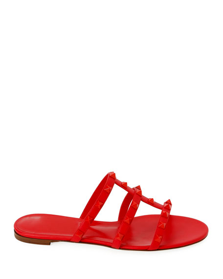 Valentino Garavani Tonal Rockstud Flat Leather Slide Sandals