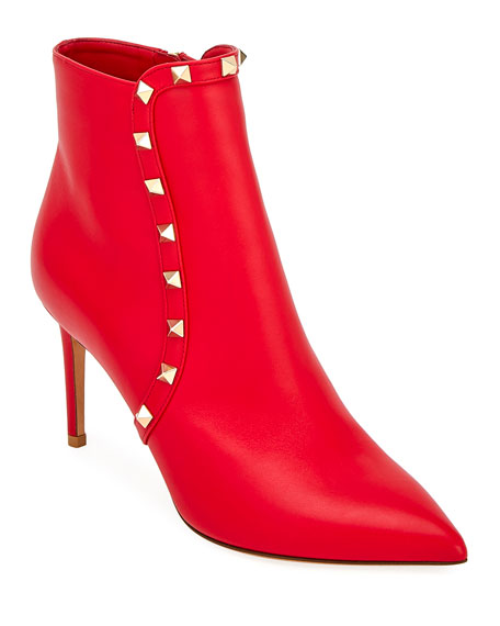 Valentino Garavani Smooth Leather Rockstud Booties