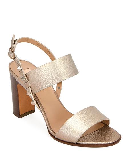 Valentino Garavani Rockstud Metallic Leather Double-Band Sandals