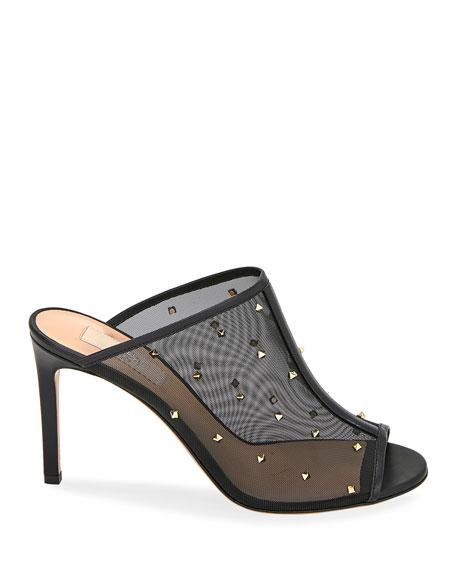 Valentino Garavani Rockstud Shining Mesh Slide Sandals