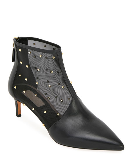 Valentino Garavani Shining Mesh Zip Booties with Mini Rockstuds