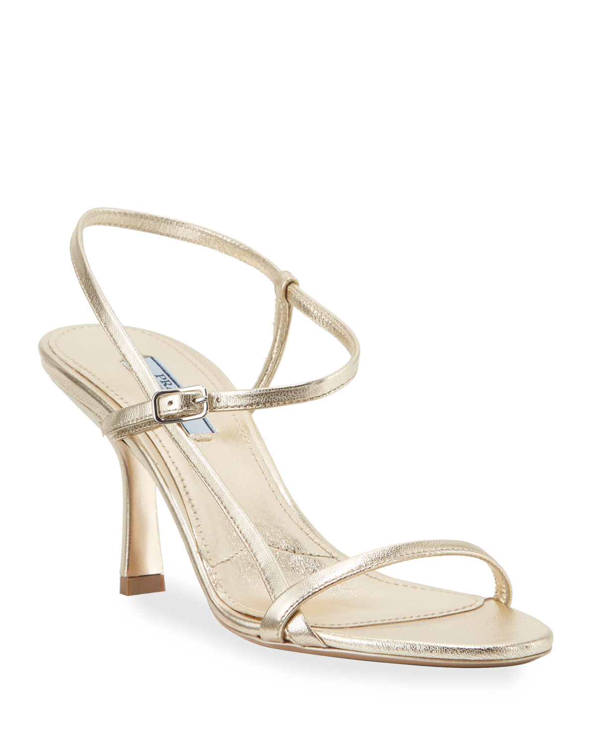 Metallic Strappy 75mm Sandals by Prada
