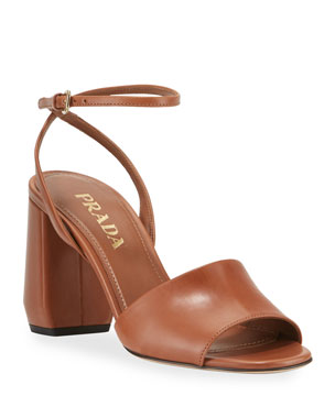 fc1362fe14c0 Prada Smooth Leather Chunky-Heel Sandals