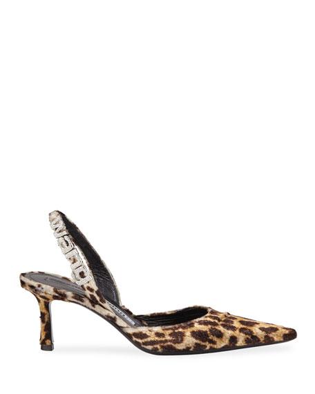 Alexander Wang Grace Leopard Logo-Slingback Pumps