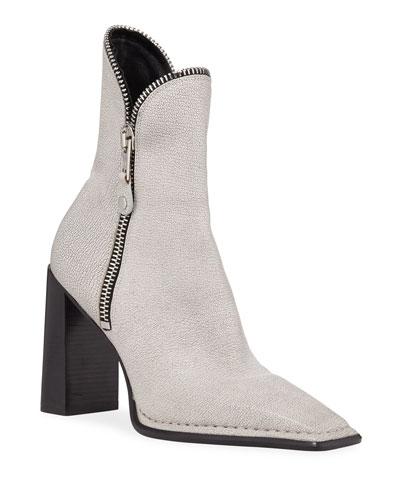 Lane Block-Heel Leather Zip Booties  White
