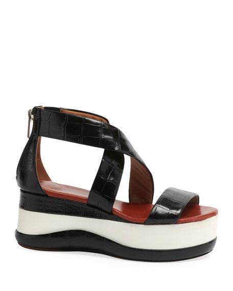 Chloe Wave Croc-Embossed Flatform Sandals