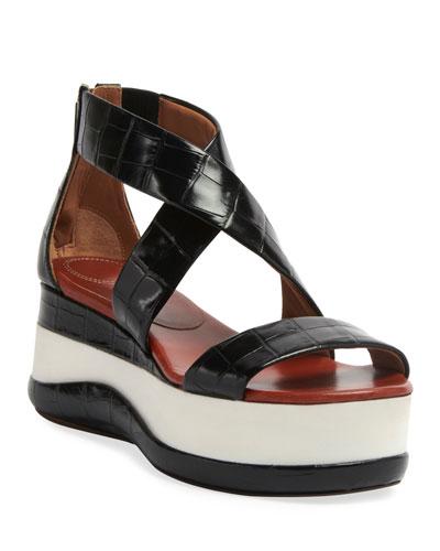 Wave Croc-Embossed Flatform Sandals