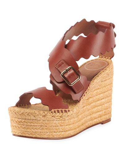 Lauren Scalloped Leather Wedge Espadrilles