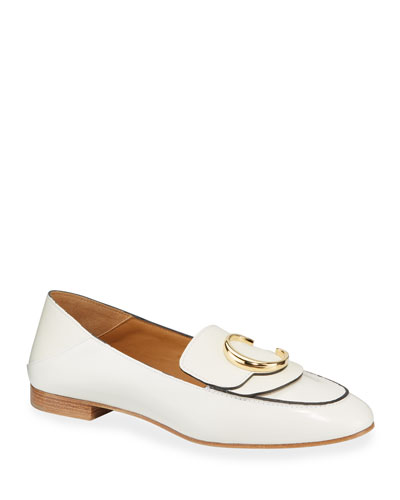 C Flat Leather Logo Fold-Down Loafers