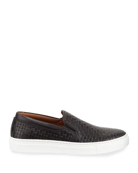 Aquatalia Ashlynn Woven Leather Slip-On Sneakers