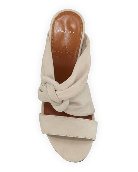 Aquatalia Breanne Knotted Suede Block-Heel Sandals