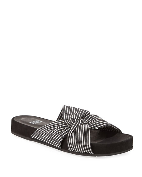 Eileen Fisher Pal Knotted Stripe Slide Sandals