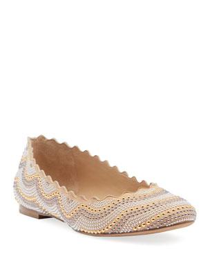 0703228893d0 Chloe Lauren Studded Suede Ballet Flats