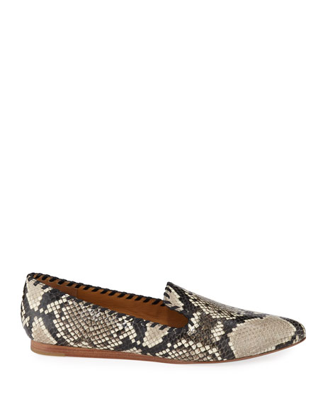 Veronica Beard Griffin Python-Embossed Flat Loafers
