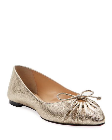Christian Louboutin Merimee Red Sole Ballet Flats, Gold