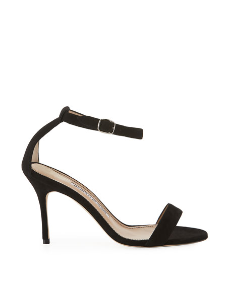 Manolo Blahnik Chaos Suede Ankle-Strap Sandals
