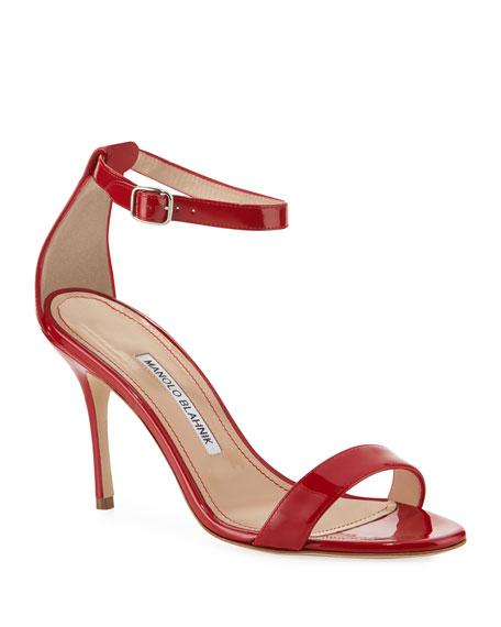 Manolo Blahnik Chaos Patent Ankle Strap Sandals by Manolo Blahnik