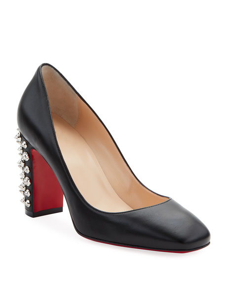 Christian Louboutin Donna Spikes Red Sole Pumps, Black/Silver