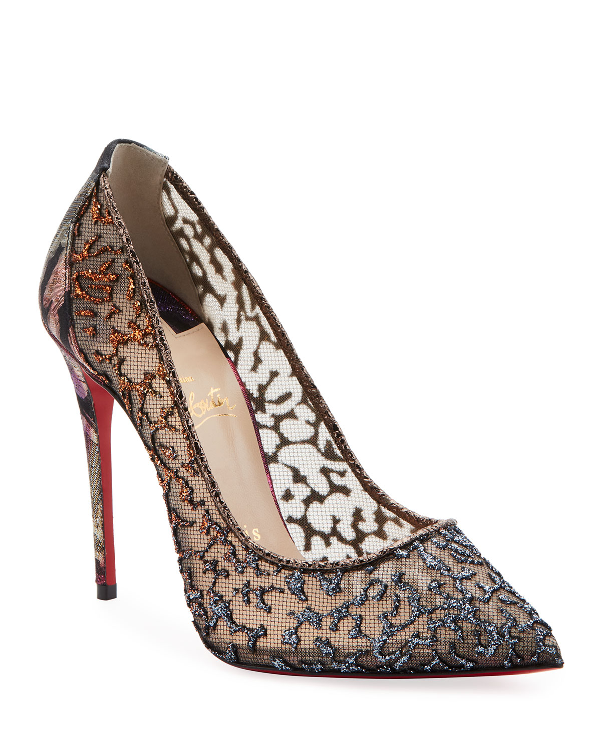 buy online 548f3 3ad6f Follies Lace Red Sole Pumps