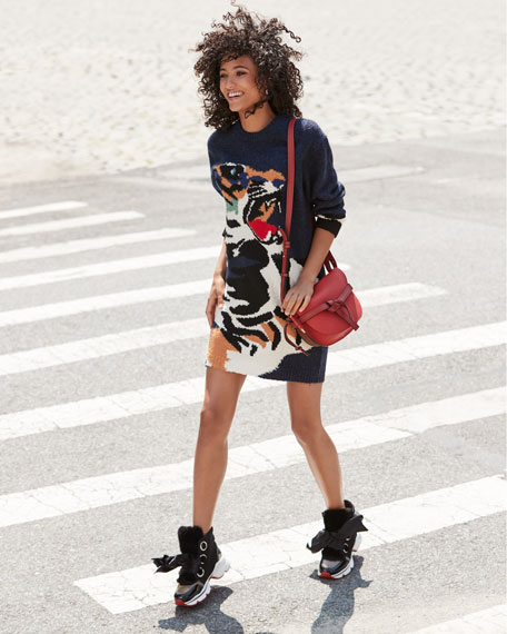 Image 2 of 6: Marellaski Faux-Fur Red Sole Sneakers