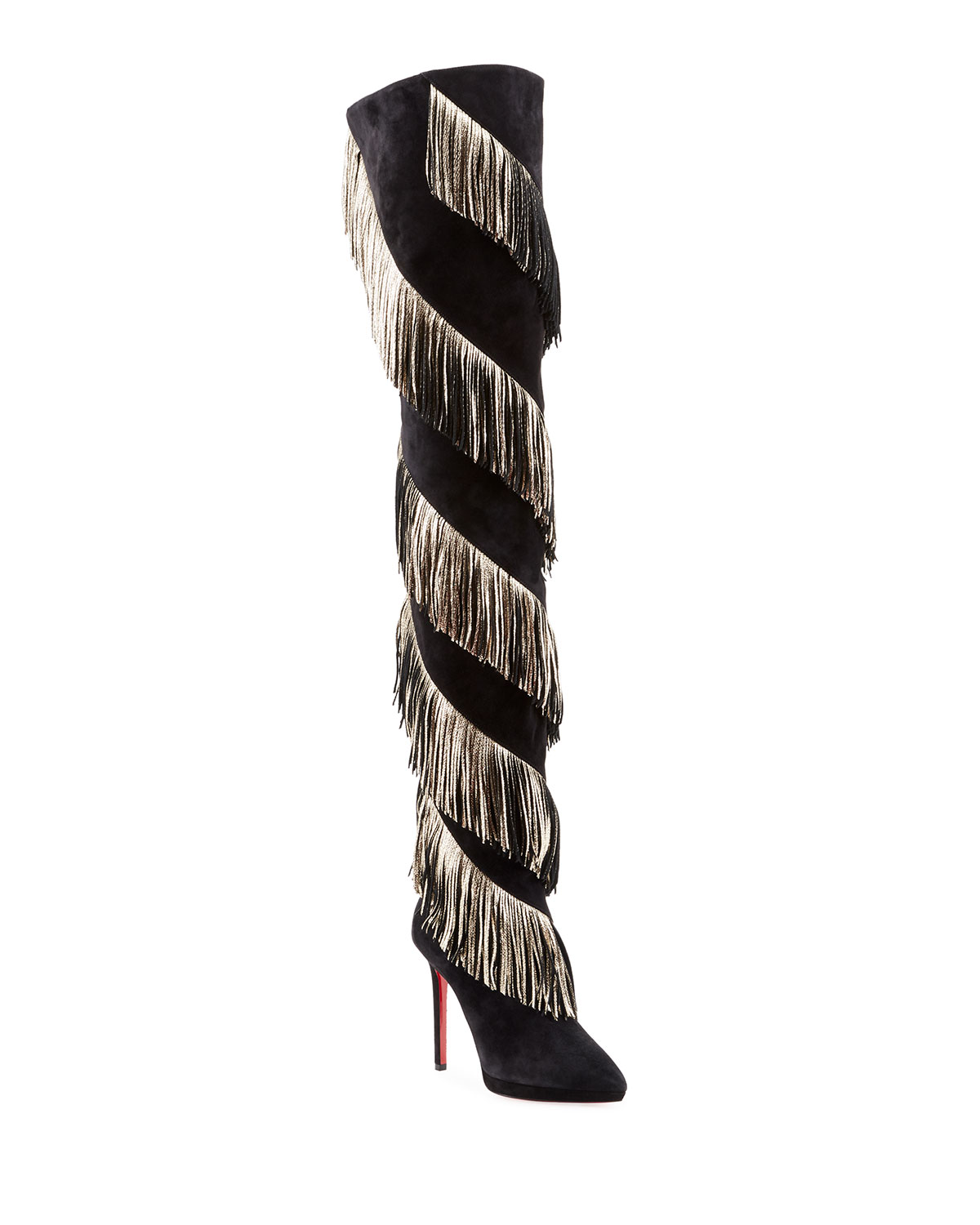 165f5551c15 Bolcheva Fringe Red Sole Knee Boots