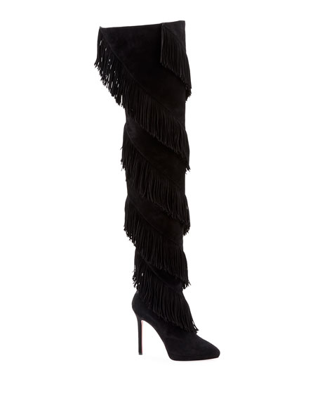 Christian Louboutin Bolcheva Fringe Red Sole Boots