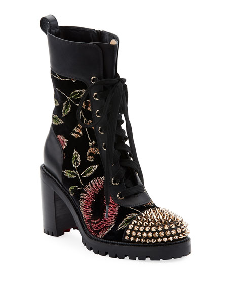 Christian Louboutin TS Croc Floral Red Sole Hiker Booties