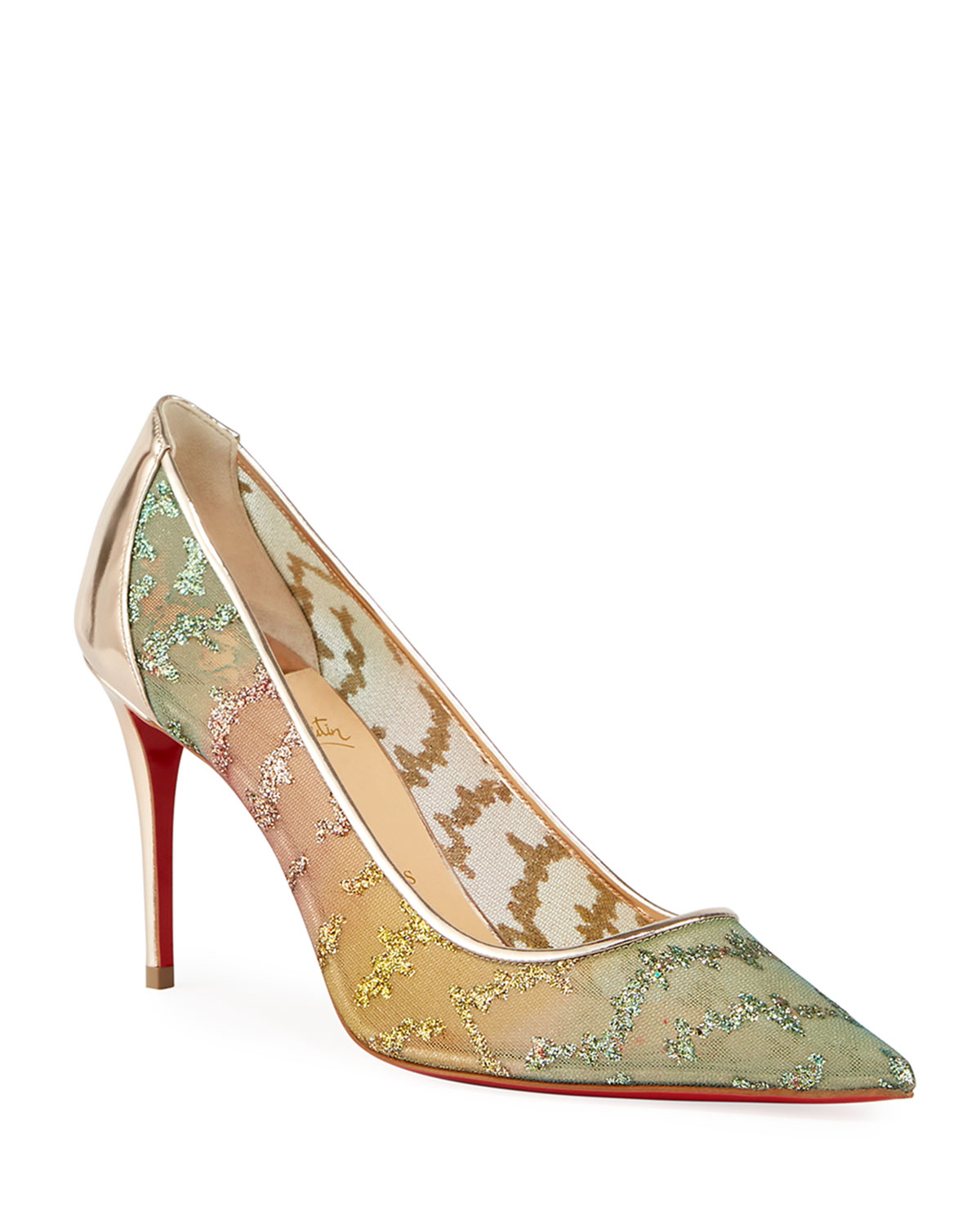 timeless design 66c34 9ac6b Follies Lace Metallic Embroidered Red Sole Pumps