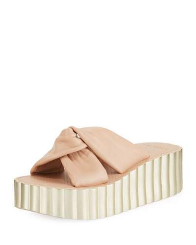 a27c8890bb6318 Knotted Scallop Wedge Slide Sandals