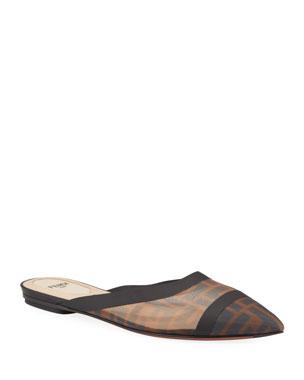2e1a5798dc0378 Fendi Colibri FF Mesh Flat Mules