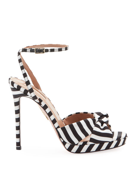Aquazzura Chance Striped Platform Sandals