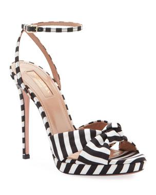 93015fc9fa4f Aquazzura Chance Striped Platform Sandals
