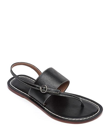 Bernardo Meg Leather Flat Sandals, Black