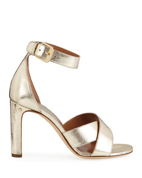 Laurence Dacade Metallic Crisscross Ankle-Wrap Sandals