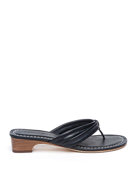 Image 2 of 4: Bernardo Miami Leather Thong Sandals, Navy