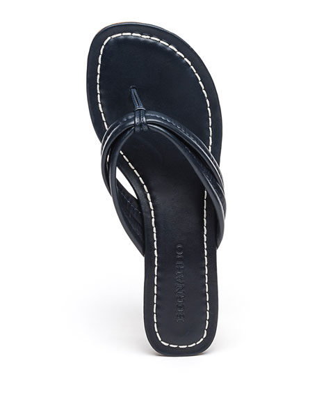 Image 4 of 4: Bernardo Miami Leather Thong Sandals, Navy