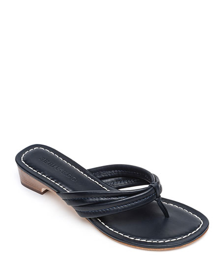Bernardo Miami Leather Thong Sandals, Navy