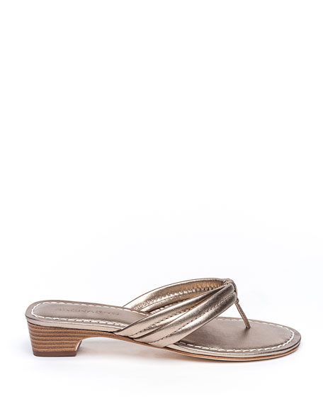 Image 2 of 4: Bernardo Miami Metallic Thong Sandals, Gray