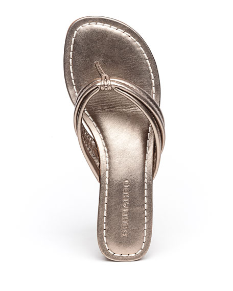 Image 4 of 4: Bernardo Miami Metallic Thong Sandals, Gray