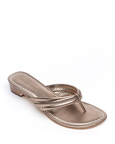 Image 1 of 4: Bernardo Miami Metallic Thong Sandals, Gray