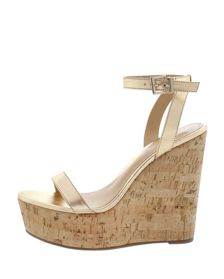 Schutz Eduarda Metallic Leather Cork-Wedge Sandals