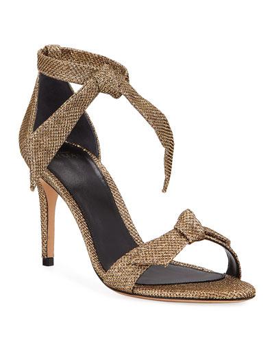 Clarita Glittered Mesh Ankle-Tie Sandals