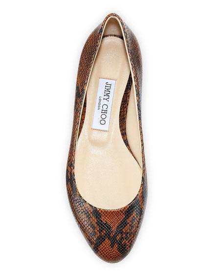 Jimmy Choo Jessie Snake-Embossed Leather Flats
