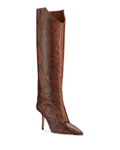 Brelan Snake-Print Knee Boots