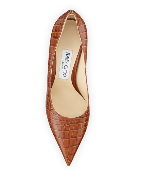 Jimmy Choo Love Croc-Embossed Leather Pumps