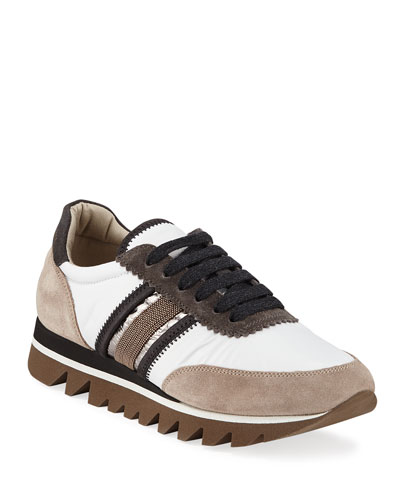 Leather and Suede Sneakers with Exaggerated Sole